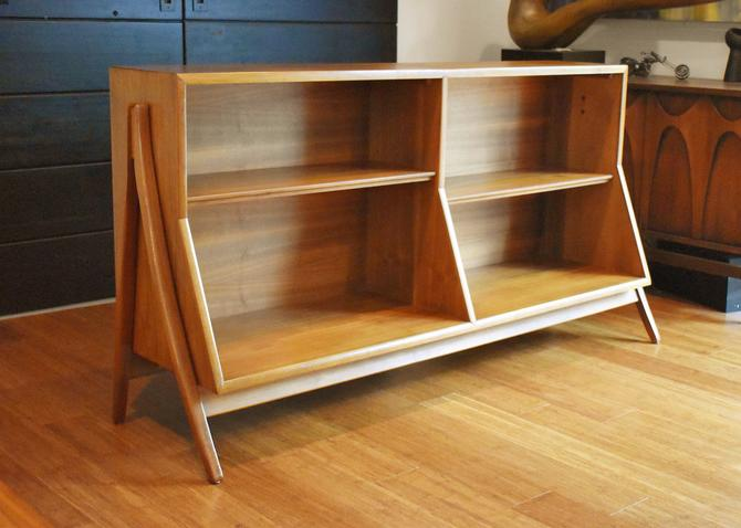 Newly-restored Drexel Declaration walnut wishbone bookcase (two available) by MidCenturyClever