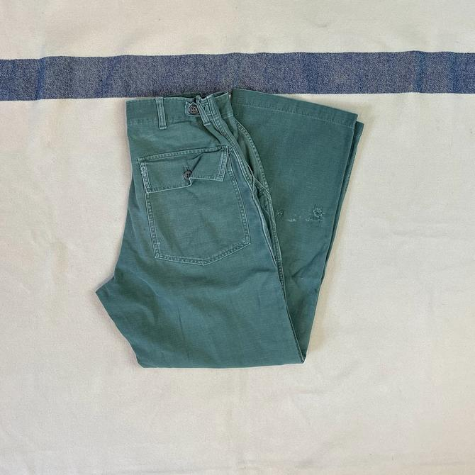 Size 25x30 1/2 Vintage 1950s 1960s US Army OG-107 Green Cotton Baker Fatigue Pants by BriarVintage