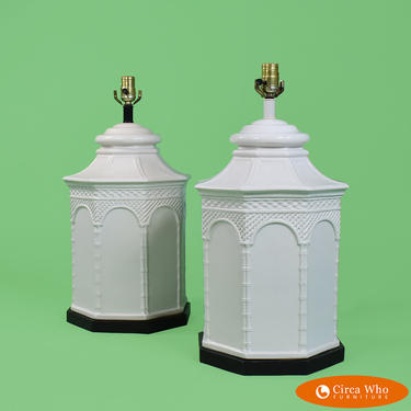 Pair of Large Pagoda Table Lamps