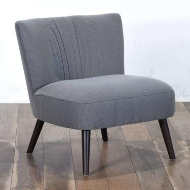Contemporary Gray Art Deco Pleated Back Accent Chair