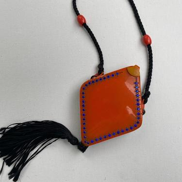 Antique Celluloid Vanity Purse 20's-30's, Art Deco, Wristlet Cord, Flapper Purse, Orange And Black With Blue Rhinestones, Armand Rouge by luckduck