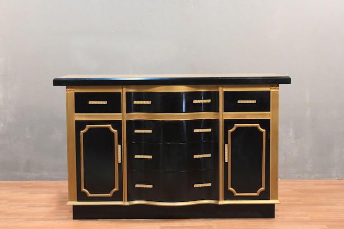 Regency Black & Gold Tile-Top Credenza