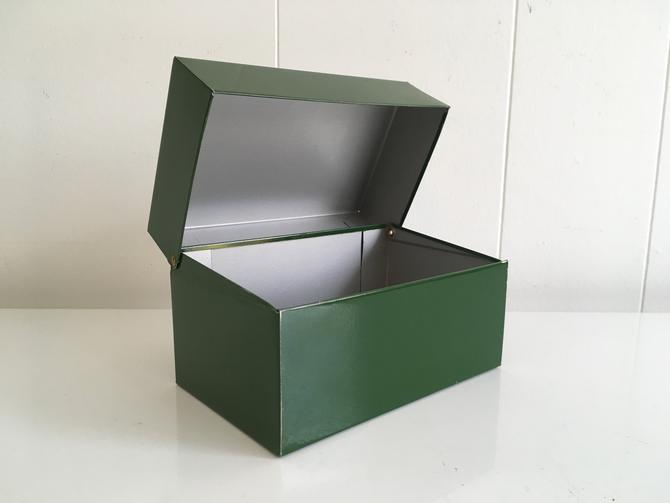 Vintage Metal Recipe Box Green 1950s Syndicate Manufacturing Tin Made in USA Mid Century Recipes Phoenxville PA by CheckEngineVintage