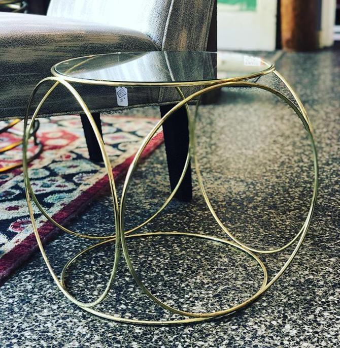 Brass and glass accent tables, 3 available