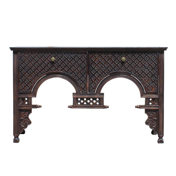 Asian Wood Floral Relief Carving Sideboard Console Drawers Cabinet cs5120S