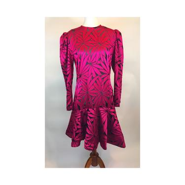 Victor Costa graphic print burnout dress. 1980's. Fuchsia. by MamaTequilasVintage