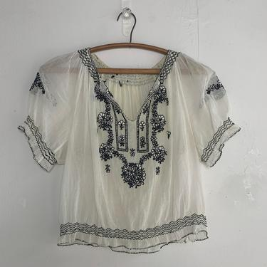 1930s Hungarian Peasant Blouse With Black Embroidery 34 Bust Vintage by AmalgamatedShop