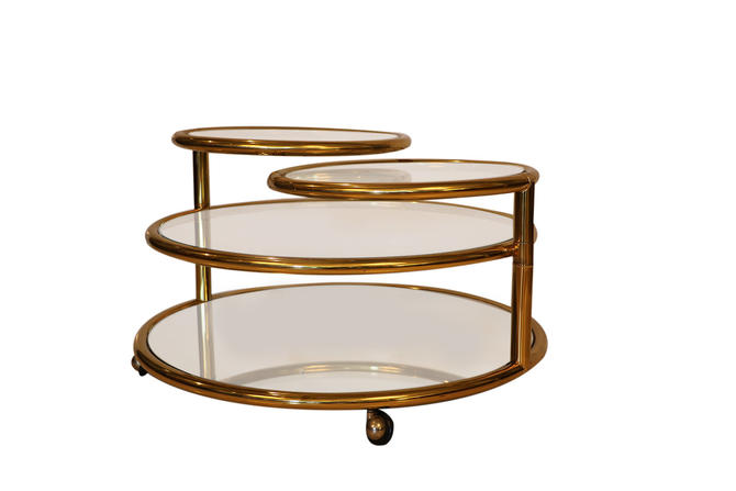 Milo Baughman style Mid Century Four Tier Brass Glass Swivel Coffee Table by Marykaysfurniture