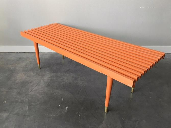 vintage mid century modern painted slat bench coffee table.