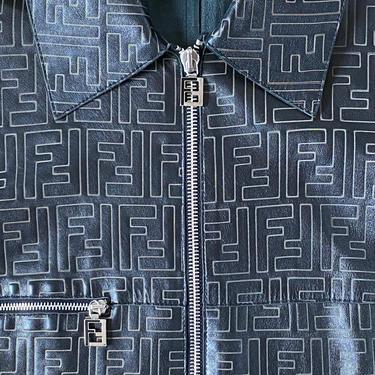 Vintage FENDI FF Leather Zucca Print MONOGRAM Womens Brown Black Blazer Jacket Dress Coat S M - Wow!! by MoonStoneVintageLA