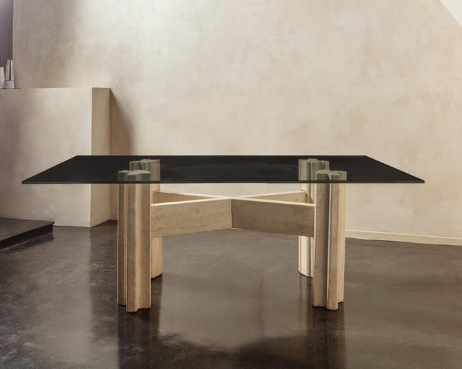 Large Travertine Dining Table with Glass Top