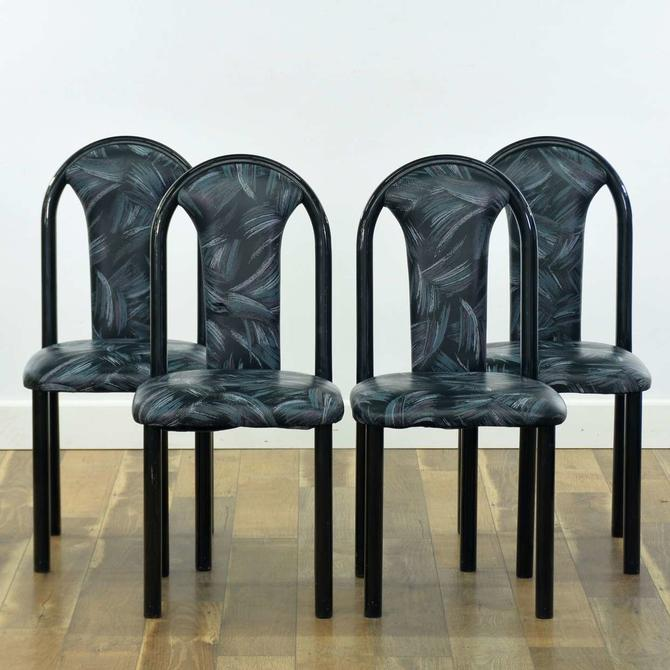 Set Of 4 Black 1980'S Deco Revival Dining Chairs