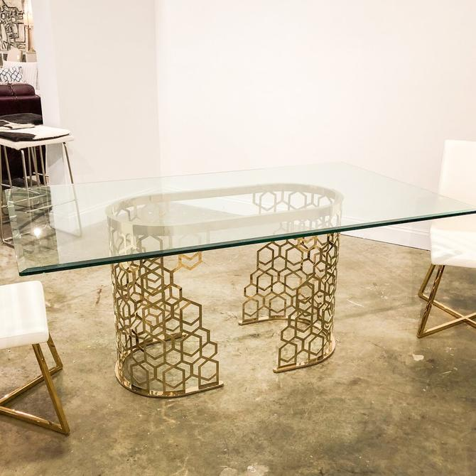 Dining Table w/ Gold Base & Glass Top