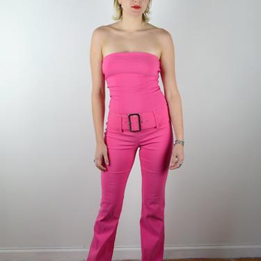 Vintage Y2k 90s Jumpsuit Hot Pink Stretch Denim / Strapless Sleeveless Vintage Jumpsuit / 1990s 2000s Flared Leg Pants / Small Medium / Belt by ErraticStaticVintage