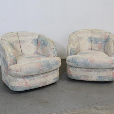 Pair of Mid-Century Modern Style Barrel Back Swivel Club Chairs by AnnexMarketplace