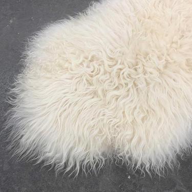 Vintage Sheepskin Rug 1980s Retro Size 28x45 Bohemian + Genuine Fur + White + Shaggy + Made in Poland + Accent + Animal + Home + Floor Decor by RetrospectVintage215