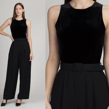 90s Minimalist Black Belted Jumpsuit - Small | Vintage Sleeveless Velvet Bodice Chic Pantsuit by FlyingAppleVintage
