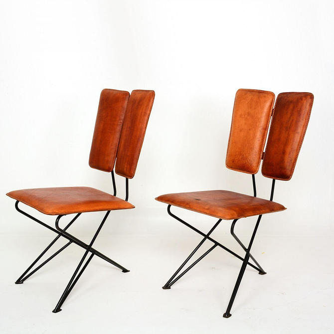 Mid Century Modern Design Pablex Tripod Chair in Leather by Ambianic by AMBIANIC