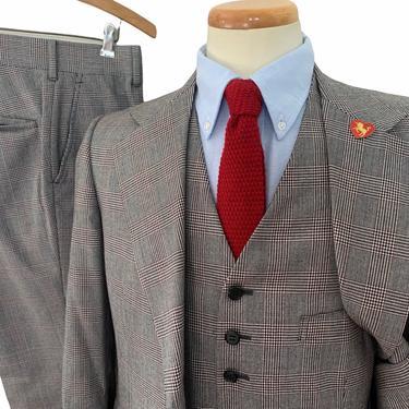 Vintage 1970s Wool 3pc GLEN PLAID Suit ~ 36 to 38 R ~ vest / waistcoat ~ pants / jacket / sport coat ~ Preppy / Ivy Style / Trad by SparrowsAndWolves