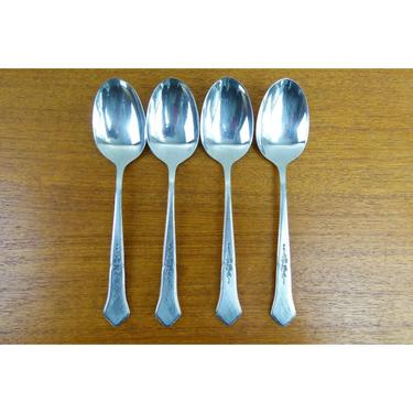 Oneida Ashmore - (4) Oval/Soup Spoons- Burnished Stainless - 1990 - BEAUTIFUL by TheFeatheredCurator