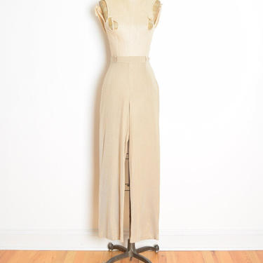 vintage 90s pants beige knit silk jersey high waisted neutral wide leg trousers S M clothing by huncamuncavintage