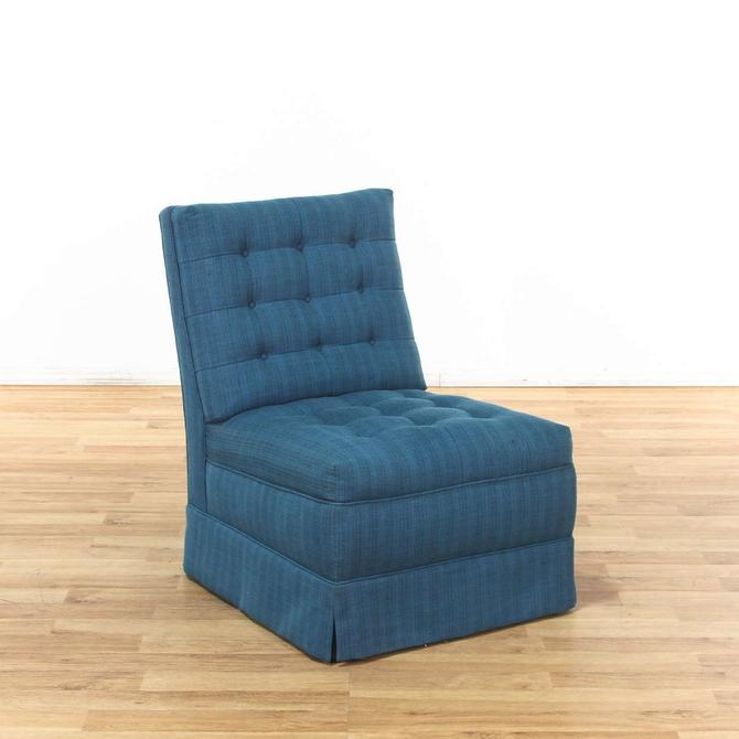 Blue Tufted Slipper Accent Chair 2