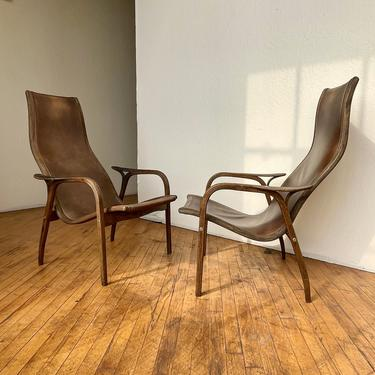 Leather Sling Lounge Chairs Pair Rustic Highback Sculptural Wire Brushed Tobacco by 330Modern