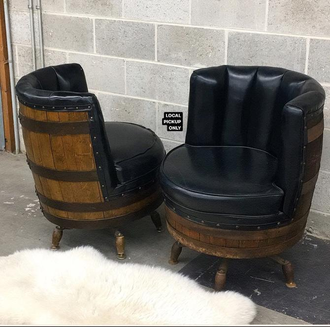 LOCAL PICKUP ONLY ———— Vintage Whiskey Barrel Chairs by RetrospectVintage215