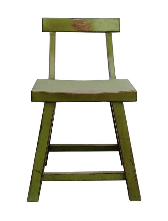 Distressed Lime Green Short Chair Stool with Back cs2255E by GoldenLotusAntiques