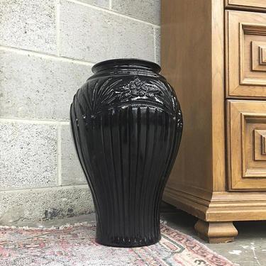 Vintage Vase Retro 1980s Art Deco Revival + Ceramic + Black + Large Size + Embossed Floral Design + Plant and Flower Display + Home Decor by RetrospectVintage215