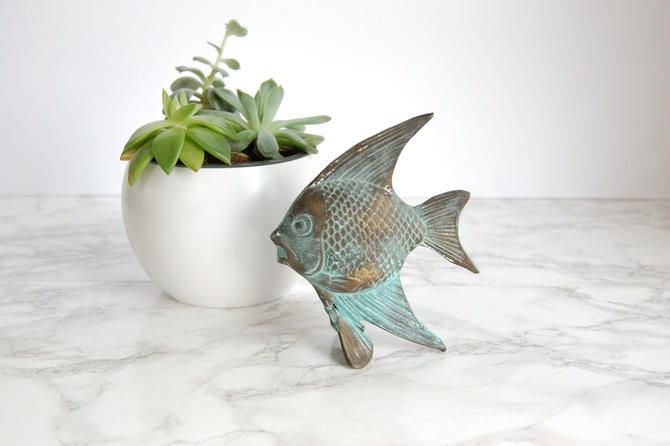 Metal Fish Statue Tropical Fish Figurine Coastal Marine Decor by PursuingVintage1