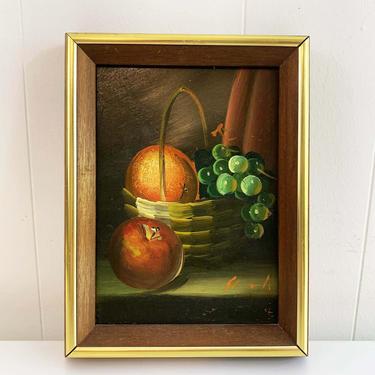 True Vintage Framed Fruit Original Painting Art White Cornucopia Gold Wood Frame Painted Oil Acrylic Paint Amateur Painter Still Life Canvas by CheckEngineVintage