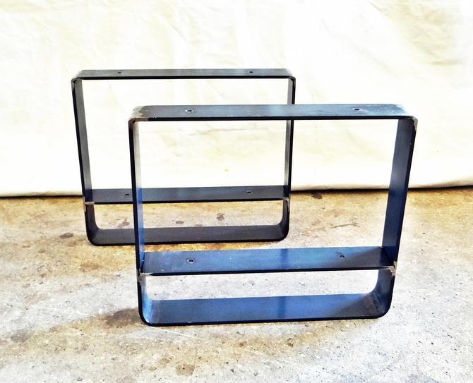Set Of 2 Flat Steel Table Legs With Lower Shelf Metal