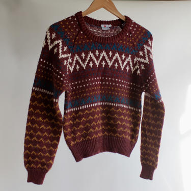 Vintage Ski Sweater Maroon, Teal,  Ivory and Yellow 1970's fits XS- M by BeggarsBanquet