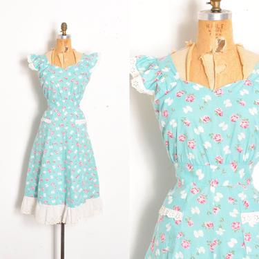 Vintage 1940s Dress / 40s Bow and Rose Print Cotton House Dress / Aqua Blue ( large L ) by lapoubellevintage