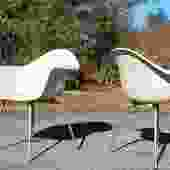 Vintage Chromcraft X-Base Fiberglass ArmChair PAIR