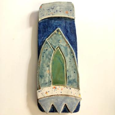 """Unique Abstract Ceramic Wall Art Plaque with crackle, blue, and green glaze, 3.75"""" W x 10.25"""" H by MadCoolNYC"""