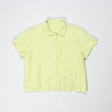 Fennel Top — vintage linen blouse / minimalist short sleeve lime green, yellow top / medium simple boxy chartreuse buttoned summer shirt by fieldery