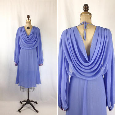 Vintage 70s dress | Vintage lavender chiffon draped dress | 1970s Ursula of Switzerland dress by BeeandMason