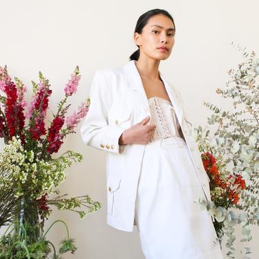 vintage 1980s white chanel silk suit set by blossomvintageshop