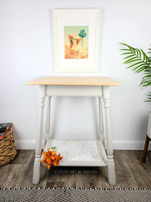 An American Maple 2  Tier Boho Entry Side Hall Table Taupe Nightstand Neutral Home Decor Painted Furniture Small Farmhouse Raw Wood Tropical by CloudArtbyKristen