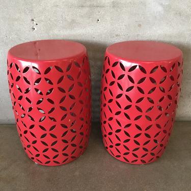 Pair of Red Metal Drum Tables