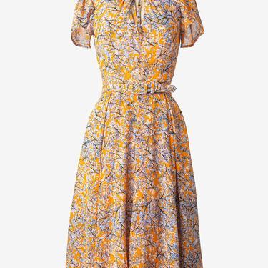 Unique Vintage Mustard & Ivory Leaf Print Dahlia Midi Dress