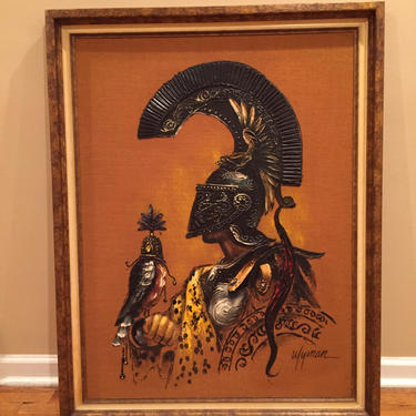 large Painting MCM on Burlap Warrior with Falcon by Dishrecon