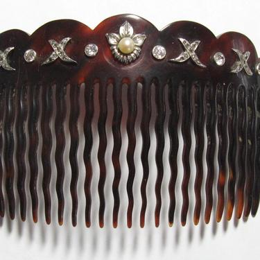Edwardian Paste and Pearl Hair Comb, Antique Hair Comb, Bridal Comb, Hair Jewelry, Hair Decoration, Hair Ornament by CombAgain