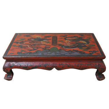 Chinese Distressed Red Lacquer Rectangular Wood Stand Display cs4690E by GoldenLotusAntiques