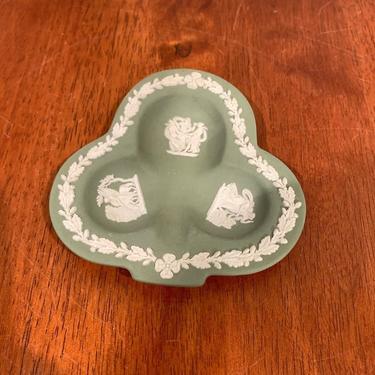 Vintage Wedgwood Green Jasperware Club Shaped Ashtray by OverTheYearsFinds