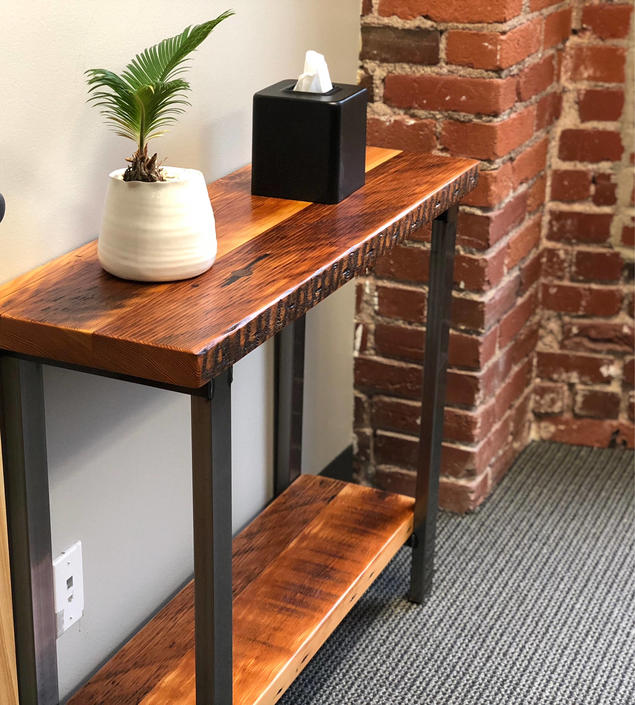 Sofa table. Industrial console table. Media stand. Sofa table with shelf. Console table with shelf. by UrbanIndustrialNW