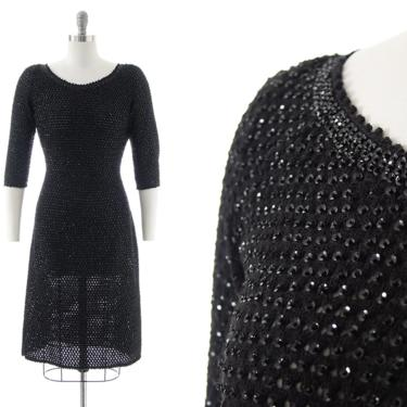 Vintage 1950s Sweater Dress | 50s GENE SHELLY Black Knit Wool Sequin Sequined Beaded Wiggle Evening Cocktail Party Dress (small/medium) by BirthdayLifeVintage