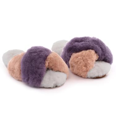 Criss Cross Alpaca Slipper Lilac/Blush/Grey